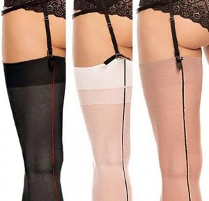 Plus Size Seamed Stockings in Black up to UK 36 / EU62